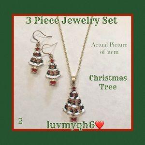 3 Piece Jewelry Set Christmas Tree